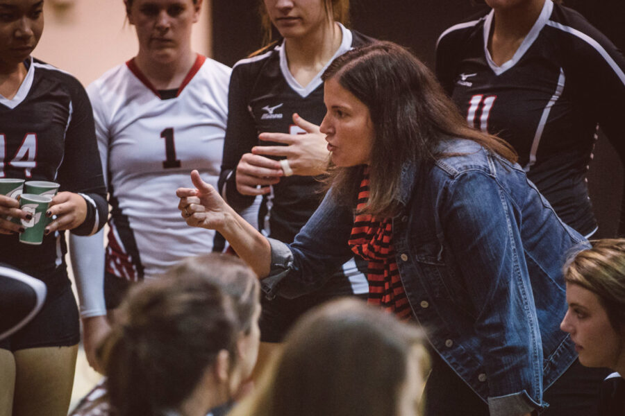 volleyball coach and players