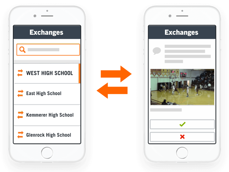 exchange game video with Hudl
