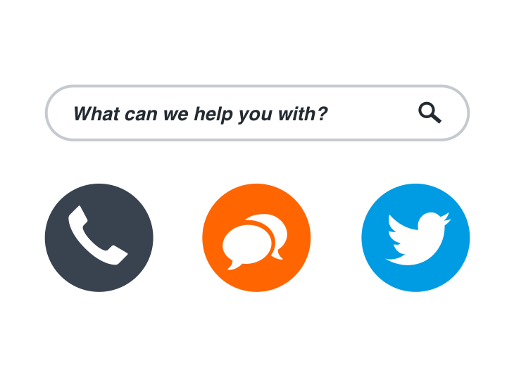 call, email or tweet icons