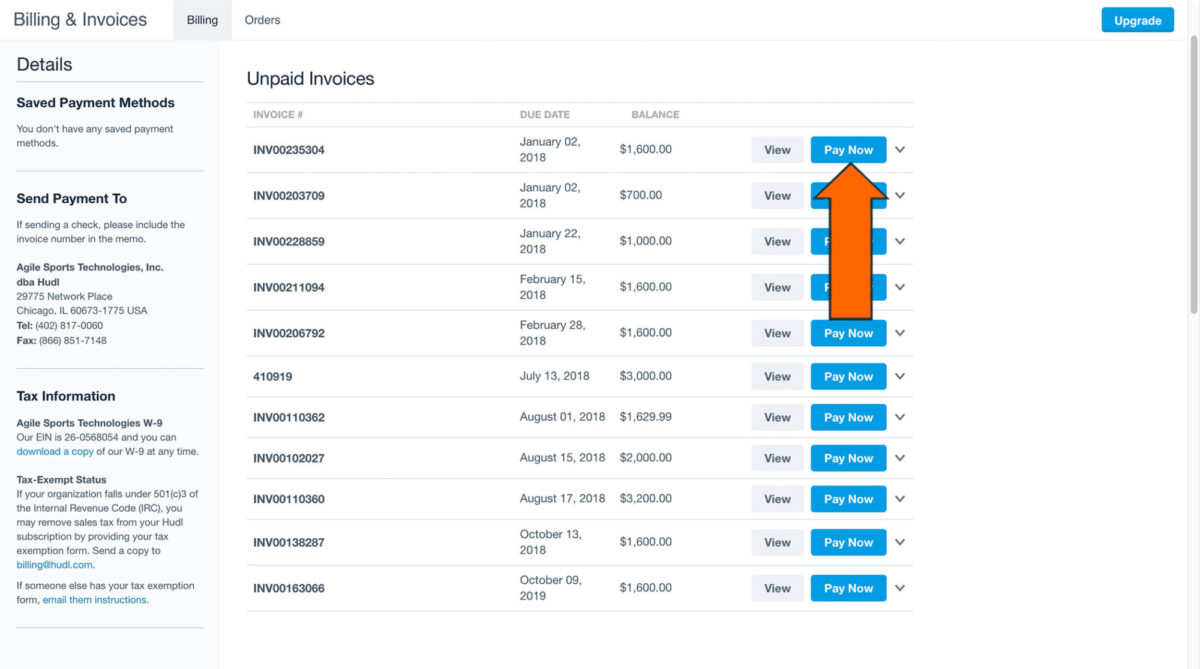 pay and view invoices hudl support