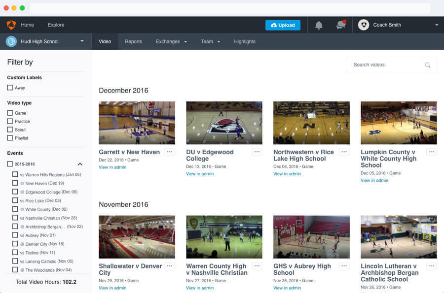 Hudl Version 3 Library Screenshot