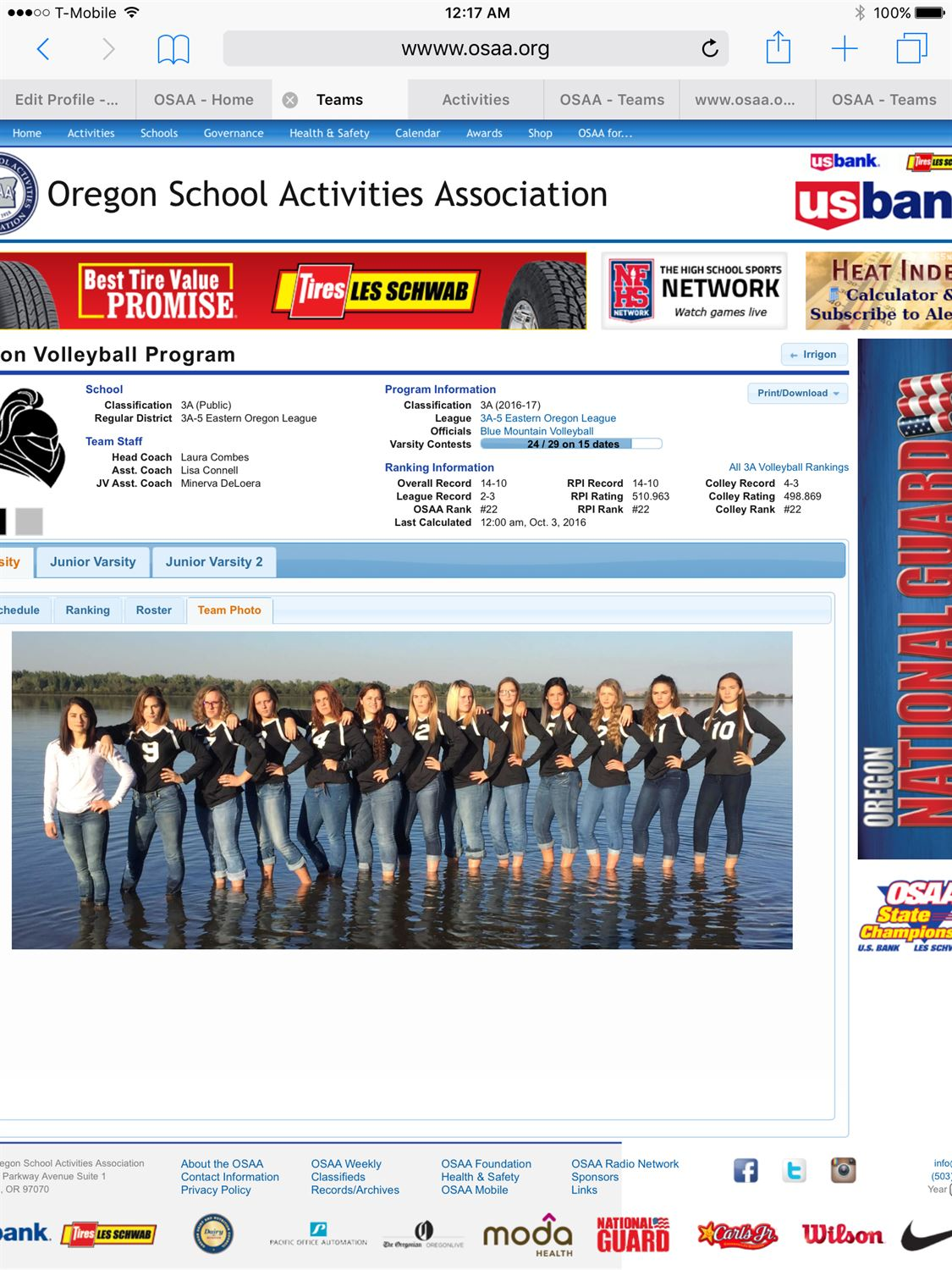 Irrigon High School - Girls Varsity Volleyball